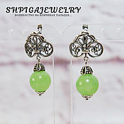 Украшения handmade. Livemaster - original item Women`s silver plated earrings with natural green onyx