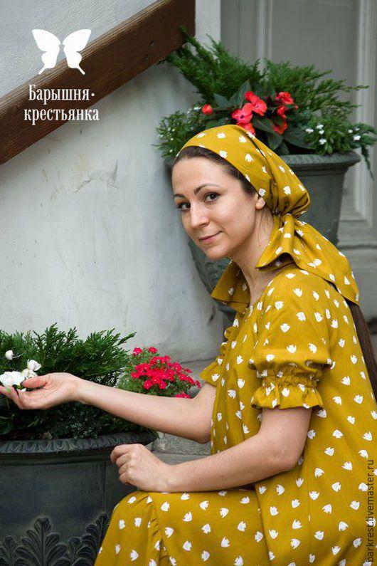 """Повязки ручной работы. Ярмарка Мастеров - ручная работа. Купить Головной убор к платью """"Хуанхэ"""". Handmade. Желтый, православный платок"""