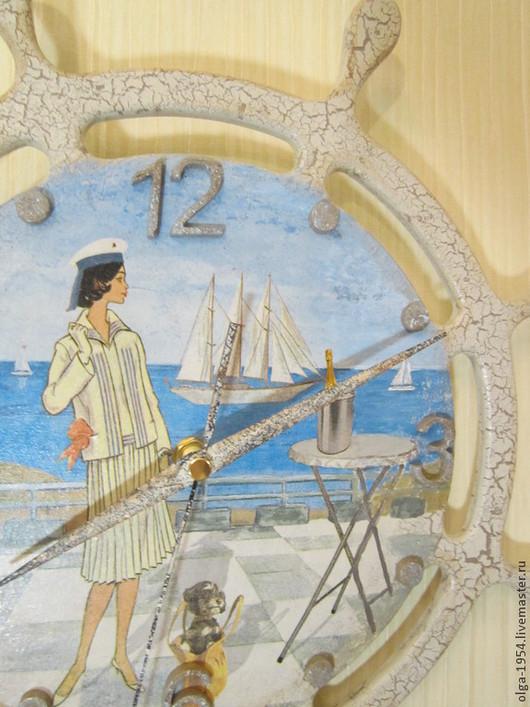 """Часы для дома ручной работы. Ярмарка Мастеров - ручная работа. Купить Часы штурвал """"Ветер странствий"""". Handmade. Белый, море"""