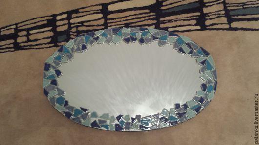 Зеркала ручной работы. Ярмарка Мастеров - ручная работа. Купить Зеркало овальное с мозаикой. Handmade. Бирюзовый, зеркало ручной работы