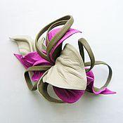 """Украшения ручной работы. Ярмарка Мастеров - ручная работа Заколка автомат цветок для волос """"Serenity"""" серый сиреневый розовый. Handmade."""