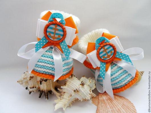 """Для новорожденных, ручной работы. Ярмарка Мастеров - ручная работа. Купить пинетки """"мечты о море"""". Handmade. Разноцветный, пинетки для девочки"""