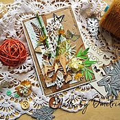 Открытки ручной работы. Ярмарка Мастеров - ручная работа Открытка ручной работы  в эко стиле. Handmade.