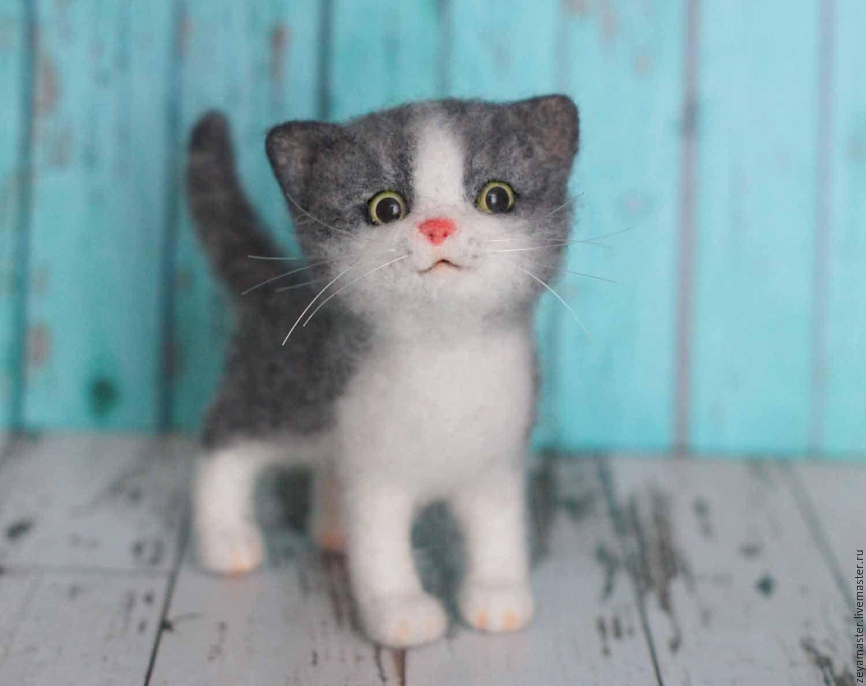 Серый котенок Буська. Игрушка из войлока, Игрушки, Зея, Фото №1