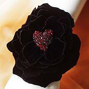 Украшения ручной работы. Ярмарка Мастеров - ручная работа Чёрная роза - браслет на руку. Handmade.