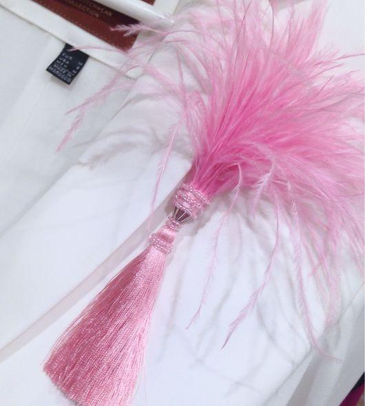 """Броши ручной работы. Ярмарка Мастеров - ручная работа. Купить Брошь с перьями """"Воздух"""", розовый. Handmade. Бледно-розовый, колье"""