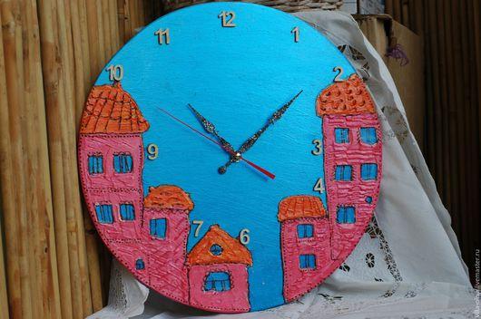 """Часы для дома ручной работы. Ярмарка Мастеров - ручная работа. Купить Часы настенные """"Город - сказка"""" диаметр 40 см.. Handmade."""