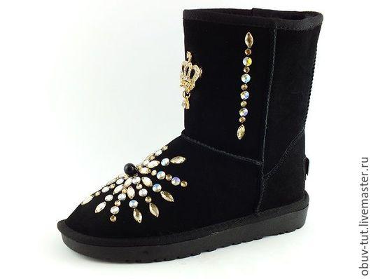 Обувь ручной работы. Ярмарка Мастеров - ручная работа. Купить Угги замшевые черные 35,36,37,38,39,40,41. Handmade.