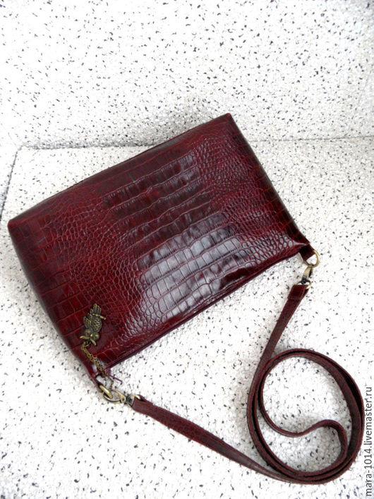 Женские сумки ручной работы. Ярмарка Мастеров - ручная работа. Купить MARSALA+ сумка на длинном ремешке из кожи, винно бордовая. Handmade.