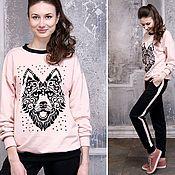 Одежда handmade. Livemaster - original item Pink suit, husky sweatshirt, sport style women suit, casual pantsuit. Handmade.