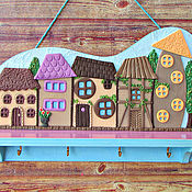 Для дома и интерьера handmade. Livemaster - original item The Housekeeper Lilac City. The housekeeper wall.Decor with polymer clay. Handmade.