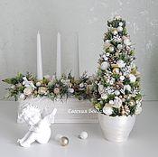 """Цветы и флористика handmade. Livemaster - original item SET. Christmas tree """"Christmas"""".Candle holder Christmas.. Handmade."""