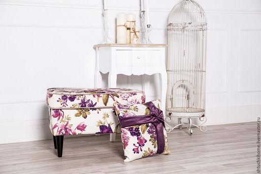 """Мебель ручной работы. Ярмарка Мастеров - ручная работа. Купить Коллекция """"Первые цветы"""" (пуфик + подушка). Handmade. Розовый"""