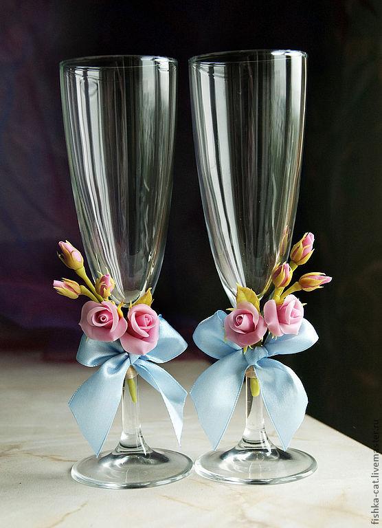 Как сделать свадебные бокалы в розе