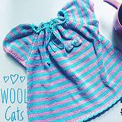 Работы для детей, handmade. Livemaster - original item Cotton dress, striped with bows spokes. Handmade.
