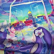 """Картины и панно ручной работы. Ярмарка Мастеров - ручная работа Шелковый шарф """"ЛЕТАЮЩЕ. ПРЕДЕЛЬНО НЕЖНО. ИМПРОВИЗИРУЯ."""". Батик.. Handmade."""