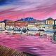 """Пейзаж ручной работы. Ярмарка Мастеров - ручная работа. Купить Картина """"Вечер над набережной"""". Handmade. Розовый, картина, море"""