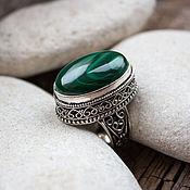 """Царское кольцо (перстень) с малахитом """"Амазонка"""""""