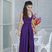 Одежда ручной работы. Ярмарка Мастеров - ручная работа Платье со съёмным шлейфом фиолет. Handmade.