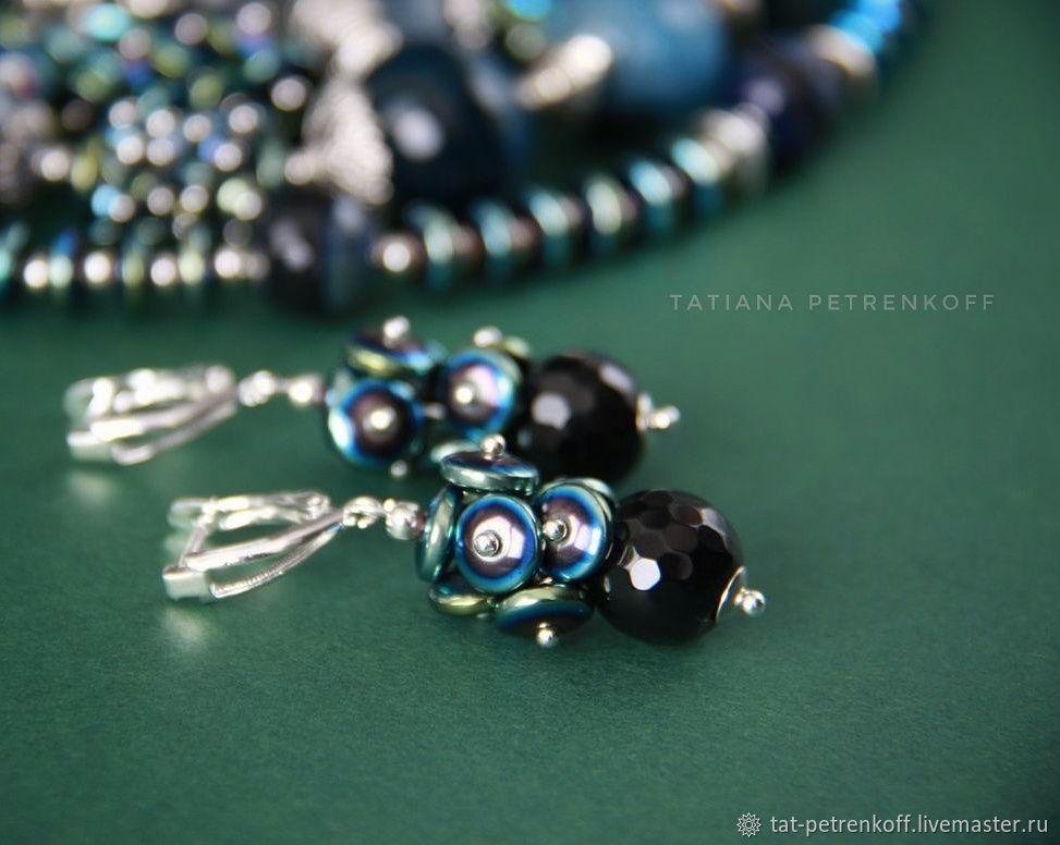 Earrings 'Scheherazade' - black and blue agate, hematite, silver 925, Earrings, Moscow,  Фото №1