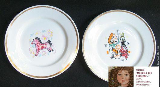 Винтажная посуда. Ярмарка Мастеров - ручная работа. Купить Детские тарелки, Дулево. Handmade. Комбинированный, детская посуда, фарфор