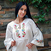 Одежда handmade. Livemaster - original item White blouse with hand embroidery