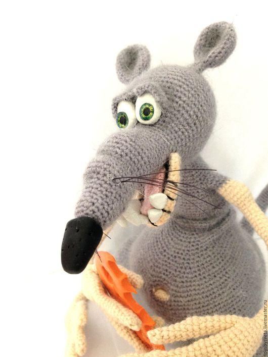 Игрушки животные, ручной работы. Ярмарка Мастеров - ручная работа. Купить Вязаная игрушка Крыс Жора-Обжора. Handmade. Серый