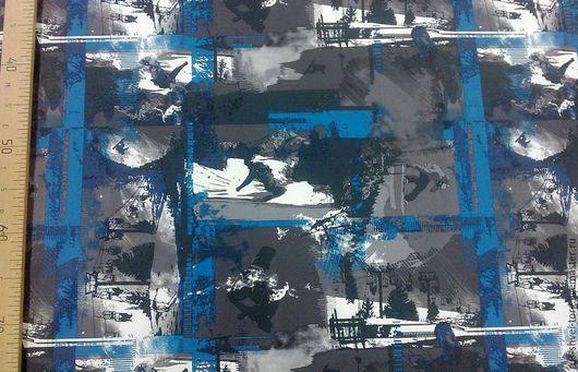 Ткань курточная 240Т DOBBY TRONGEE Мембрана Рисунок `Сноуборд голубой`