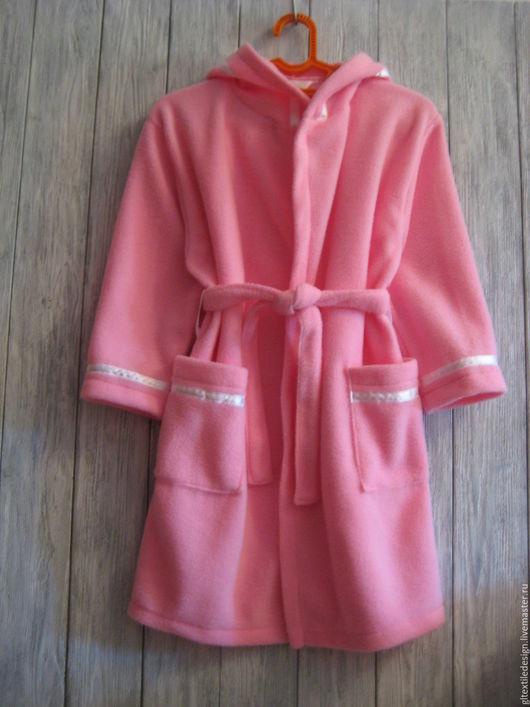 Халаты ручной работы. Ярмарка Мастеров - ручная работа. Купить Халат на девочку розовый из флиса. Handmade. Розовый, для девочки