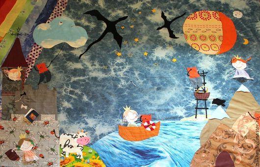 """Текстиль, ковры ручной работы. Ярмарка Мастеров - ручная работа. Купить Сюжетное покрывало """"Принцесса и кот"""". Handmade. Синий"""