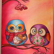 """Картины и панно ручной работы. Ярмарка Мастеров - ручная работа Картина """"Совята на красном фоне"""". Handmade."""