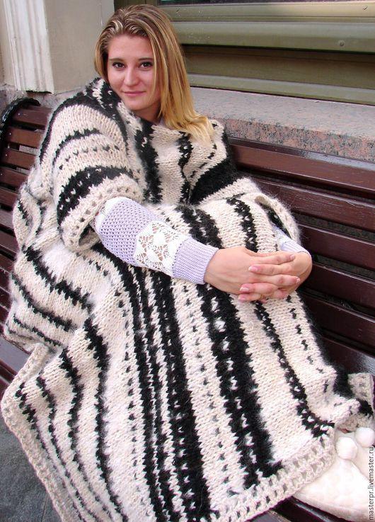 Плед с рукавами  «ЗЕБРА» из собачьей шерсти. Плед ручной авторской работы .Эксклюзив.