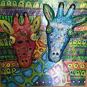 """Картины и панно ручной работы. Ярмарка Мастеров - ручная работа Панно""""Жирафики"""".. Handmade."""