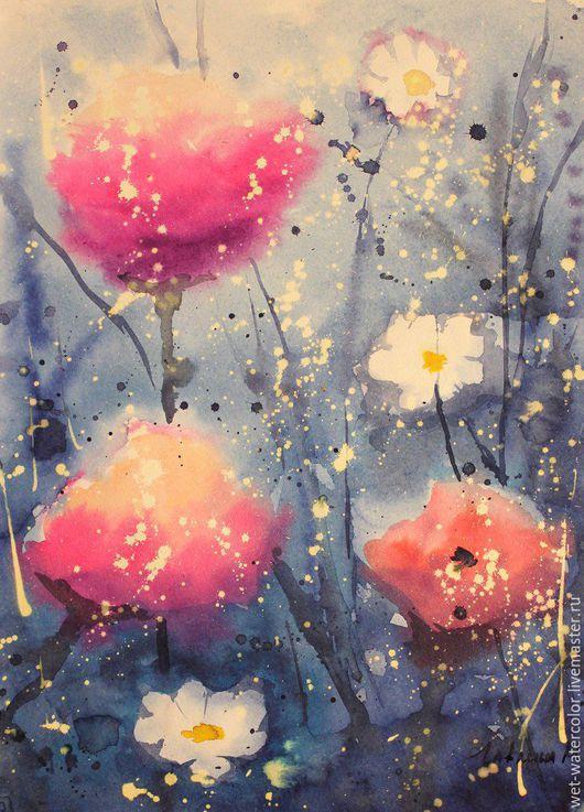 Картины цветов ручной работы. Ярмарка Мастеров - ручная работа. Купить Маки. Handmade. Разноцветный, акварель, картина в подарок