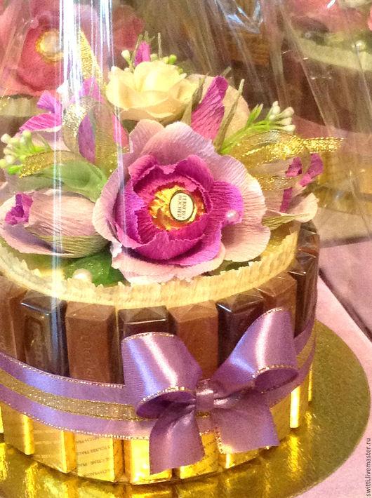 Букеты ручной работы. Ярмарка Мастеров - ручная работа. Купить Торт из шоколада Мерси.Торт из шоколада в подарок. Handmade. Фиолетовый