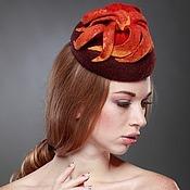 """Аксессуары ручной работы. Ярмарка Мастеров - ручная работа """"Огонь осени"""" коктейльная шляпка. Handmade."""