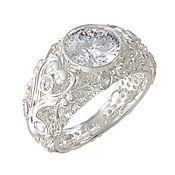 Украшения handmade. Livemaster - original item Gold ring Diamond, white gold 585, diamond. Handmade.