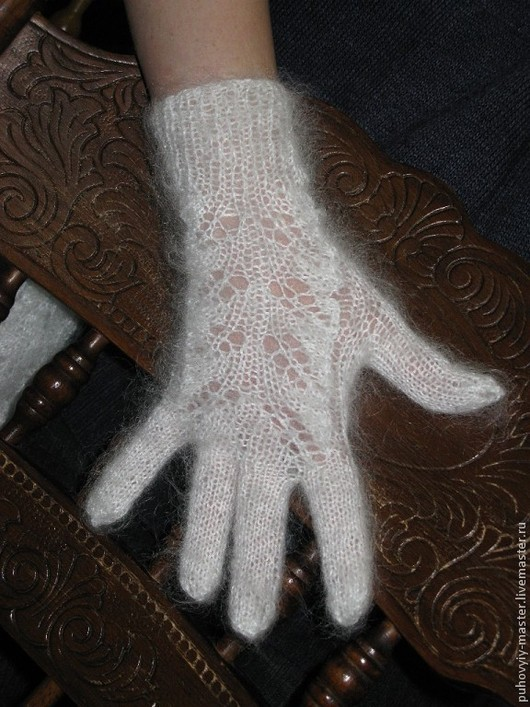 Варежки, митенки, перчатки ручной работы. Ярмарка Мастеров - ручная работа. Купить ПЕРЧАТКИ АЖУРНЫЕ ПУХОВЫЕ БЕЛЫЕ. Handmade. Белый