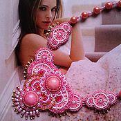"""Украшения ручной работы. Ярмарка Мастеров - ручная работа """"Розовая сказка"""": вышитое бисером колье с розовым кварцем. Handmade."""