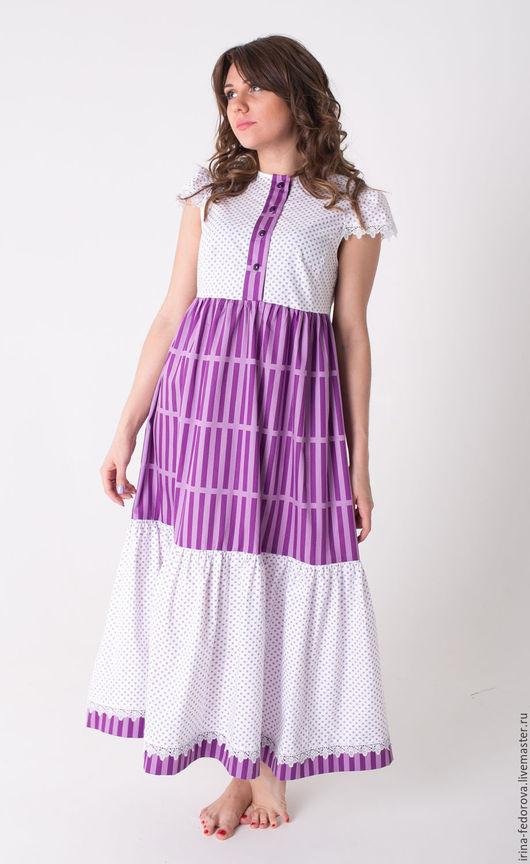 Платья ручной работы. Ярмарка Мастеров - ручная работа. Купить Платье в горошек П-76. Handmade. Бледно-сиреневый