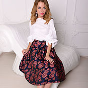 Одежда handmade. Livemaster - original item Jacquard skirt with tea roses. Handmade.