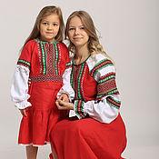 Народные рубахи ручной работы. Ярмарка Мастеров - ручная работа Русское льняное платье для девочки. Handmade.