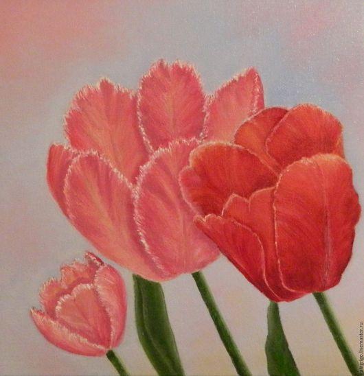 Картины цветов ручной работы. Ярмарка Мастеров - ручная работа. Купить Три тюльпана. Handmade. Розовый, картина маслом