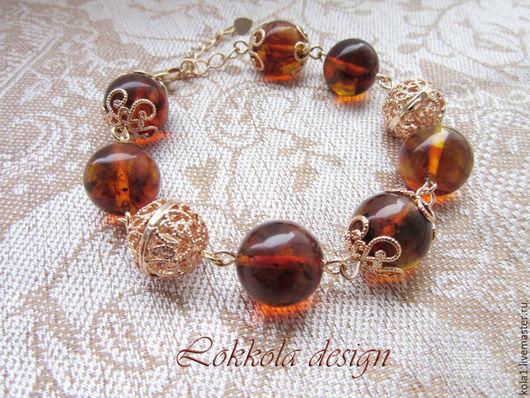 """Браслеты ручной работы. Ярмарка Мастеров - ручная работа. Купить Янтарный браслет """"Солнечный"""". Handmade. Оранжевый, браслет, янтарь"""