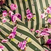 Материалы для творчества handmade. Livemaster - original item Fabric: Natural silk stripes and roses. Handmade.