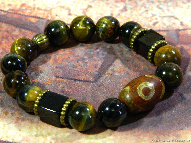 Amulet bracelet, Tiger eye beads, Falcon, agate, Eye agate, Bead bracelet, Saratov,  Фото №1
