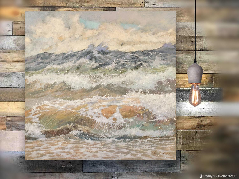 Картина на холсте Морская мелодия (бежевый, серый, песочный), Картины, Смоленск,  Фото №1