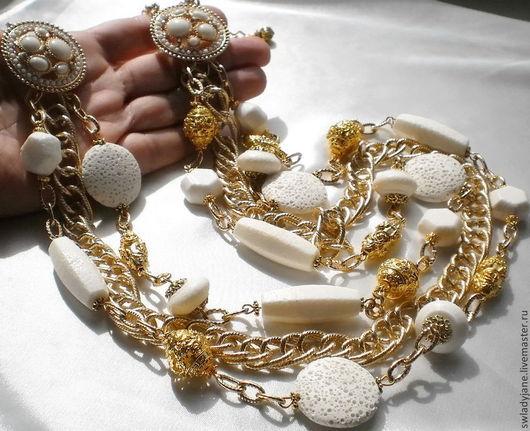 Колье, бусы ручной работы. Ярмарка Мастеров - ручная работа. Купить БЕЛОЕ ЗОЛОТО Колье (БраслетСерьги) белые кораллы. Handmade.