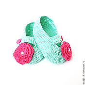 Работы для детей, handmade. Livemaster - original item knitted booties shoes for girls, booties for a Princess, mint. Handmade.