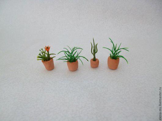 Миниатюра ручной работы. Ярмарка Мастеров - ручная работа. Купить Мини цветы в горшках (набор 4 шт). Handmade.